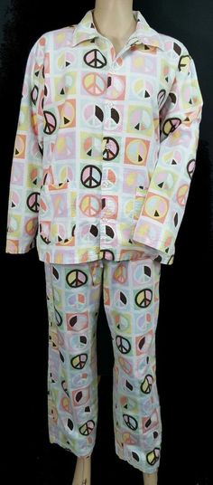 712a629f12 P.J. Salvage Peace Sign Pastel 2pc Pajamas Set Fleece Pjs Cotton Womens Size  S  PJSalvage  PajamaSets