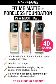 Maybelline Fit Me Foundation Matte + Poreless is America's #1 Foundation for a reason! Here are 4 reasons why you need this foundation in your life! Tap to shop this foundation!
