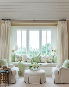 The Chic Technique: Coastal Bedroom Built-In Seating - Stylish Bedroom Seating - Southernliving. Instead of letting this window nook go to… Interior, Curtains Living Room, Bedroom Seating, Home, Living Room Decor, Living Room Windows, Stylish Bedroom, House Interior, Window Seat Design