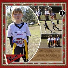 "Cute ""Go Bucs"" Football Scrapbooking Page...jubeefish - Two Peas In A Bucket."