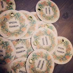 作りたかったサンキュータグ♡ コレをアレにつけます。  #サンキュータグ #5月挙式 #DIY #プレ花嫁 #結婚式 #ハンドメイド #handmade #クラフト #リース #ハトメ #手作り