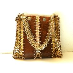 60's MOD CHAIN MAIL Purse - Paco Rabanne-like / It-Girl / Mod / Leather / Collectible / Rare