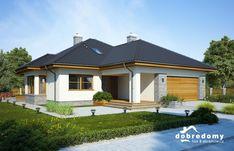 Julita II jest idealną propozycją dla osób preferujących klasyczny styl w architekturze domów jednorodzinnych. Ten nieduży, parterowy dom, dzięki połączeniu białego tynku z szarą, klinkierową okładziną i ciepłymi, drewnianymi akcentami, wygląda elegancko, a zarazem skromnie. Duża ilość okien pozwoli na wykorzystanie światła słonecznego. Przestrzeń mieszkalna rozmieszczona jest na jednym poziomie, co doskonale sprawdzi się w przypadku rodzin z małymi dziećmi lub seniorów. Z wiatrołapu, mieszczące Home Fashion, Planer, Bungalow, Garage Doors, Mansions, Landscape, House Styles, Outdoor Decor, Home Decor