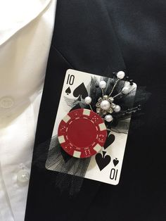 Items similar to Poker Card Boutonniere Wedding Prom Sweet 16 Casino Night Poker Chip Game Night Special Event on Etsy Casino Royale, Fète Casino, Casino Cakes, Casino Party Foods, Casino Party Decorations, Casino Night Party, Casino Theme Parties, 80s Party, Bunco Party