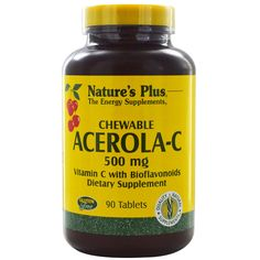 Nature's Plus, Chewable Acerola-C, Vitamin C with Bioflavonoids, 500 mg, 90…