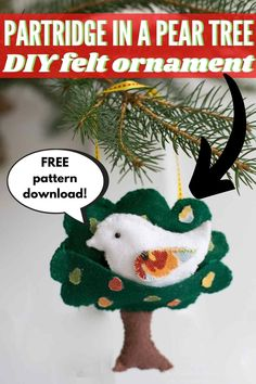A soft, sweet 12 days of Christmas partridge in a pear tree felt ornament! Adorable. The bird is removable from the tree. Get the free pattern downloads to make your own! #12daysofchristmas #christmasornamentideas #partridgeinapeartree #12daysofchristmasornaments #birdornament #DIYchristmasornaments #feltornaments Bird Ornaments, Diy Christmas Ornaments, Christmas Art, Holiday Crafts, Holiday Decor, Free Pattern Download, Crafts For Kids, Diy Crafts, Pear Trees
