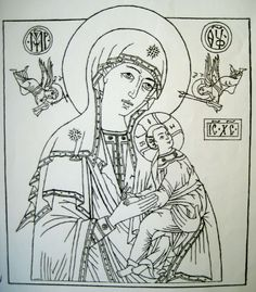 How to paint a Byzantine icon by the Prosopon Method, using egg tempera paint and gold leaf on wood board or panel, natural gesso, pigments, other icon materials and methods Russian Icons, Byzantine Icons, Bible Art, Line Drawing, Ikon, Medieval, Clip Art, Outlines, Drawings