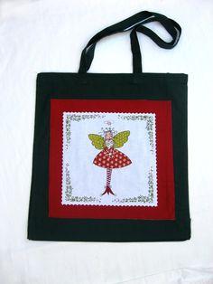 Christmas Fairy Tote Bag, Fairy Shoulder Bag, Green Christmas Tote Bag £7.00