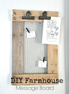 Best Country Crafts For The Home - DIY Farmhouse Message Board - Cool and Easy DIY Craft Projects for Home Decor, Dollar Store Gifts, Furniture and Kitchen Accessories - Creative Wall Art Ideas, Rustic and Farmhouse Looks, Shabby Chic and Vintage Decor To Country Crafts, Country Decor, Rustic Decor, Vintage Decor, Country Chic, French Country, Rustic Crafts, French Cottage, Vintage Diy