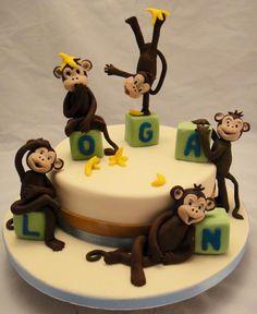 Cheeky monkey baby cake - Cheeky monkey themed baby cake - fondant decorations on name blocks ... Cute and I like the name too