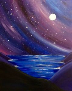 Paint Nite Events near Minneapolis, MN Acrylic Painting Lessons, Easy Canvas Painting, Galaxy Painting, Sky Painting, Easy Paintings, Landscape Paintings, Canvas Art, Muse Art, Beginner Painting