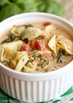 Crock Pot Tortellini and Spinach Soup { lilluna.com }