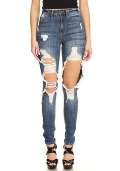 High Rise Denim Front and Back Leg Destruction bc733b461fa