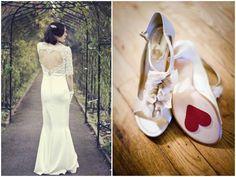 Valentinstag Brautkleid und Schuhe Idea ♥ Lace Heart Open Back Wedding Dress ♥ Brautschuhe Sticker