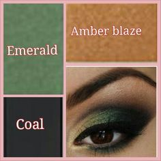 Mary Kay Mineral Eye Colors: Amber blaze, Emerald, and Coal.