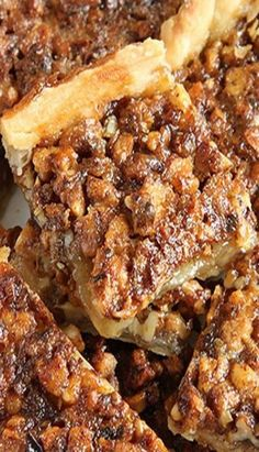 Easy Pecan Pie Bars - Sugar Apron The 1 pack of crescent rolls wasn't big enough for a 9 pan (it looked like a flatbread). This might have worked better in an 8 or smaller Easy Pecan Pie Bars Pecan Desserts, Pecan Recipes, Easy Desserts, Sweet Recipes, Baking Recipes, Cookie Recipes, Bar Recipes, Pasta Recipes, Dessert Simple