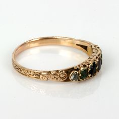 """Antique """"Dearest"""" ring <3 15ct rose gold <3 engraving continuing all around the band <3   Acrostic jewellery is one that spells out a word such as this gorgeous Victorian era """"Dearest"""" ring, set with a Diamond, Emerald, Amethyst, Ruby, Emerald, Sapphire and Topaz where the first letter of each gemstone spells out the romantic word """"Dearest"""".  Antique Dearest rings are becoming so scarce and this one is just wonderful. <3 Circa: 1870"""