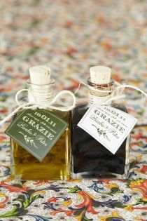 Hand-bottled olive oil & balsamic vinegar favors ~ Fatto con amore (made with love)!