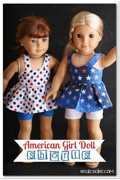 Pattern for doll clothes for American Girl Doll shorts from realcoake.com