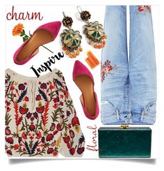 """""""Floral charm"""" by wuteringheights ❤ liked on Polyvore featuring Alice + Olivia, Citizens of Humanity, Sweet Romance, Charlotte Russe, Edie Parker and Fresh"""