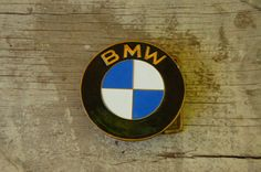 Vintage 70s BMW Brass and Enamel Belt Buckle by SycamoreVintage