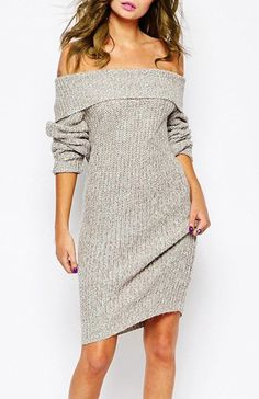 »The Shoulder Gray Long Sleeve Sweater« #fashion #fashionandaccessories
