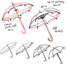 Art Tutorials Anonymous said: I wonder if you can help me drawing an umbrella? I'm sorry if it's too much >_ Answer: us e a proper circle tool or your umbrella will be lopsided like mine LOL here's a ref of. Drawing Practice, Drawing Skills, Drawing Lessons, Drawing Techniques, Drawing Tips, Sketch Drawing, Sketching, Art Reference Poses, Drawing Reference