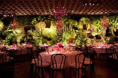 """Whitney Gala with theme of """"Foliage evoking the Garden of Eden"""" - The several-thousand-pound greenery installation included 20 different types of ferns and mosses. Lodge Wedding, Farm Wedding, Wedding Table, Garden Of Eden, Garden Theme, Wedding Themes, Wedding Decorations, Table Decorations, Wedding Ideas"""