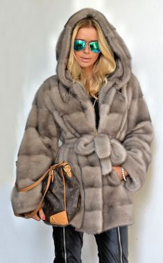 mink furs - royal saga mink fur coat with hood More