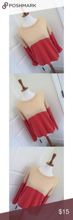 Forever21 colorblock sweater - Size medium. Peachy/coral sweater that is so soft and comfy. Never been worn before and looks so flattering on.  - I don't trade or sell outside of posh. - I ship every single day!  - All items come from a smoke free home!  - If you have anymore questions just let me know and I would be happy to help! 🙂 Forever 21 Sweaters Crew & Scoop Necks