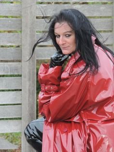 DSCN7037 Red Raincoat, Vinyl Raincoat, Rain Jacket, Leather Jacket, Sexy, How To Wear, Mistress, Clothes, Latex