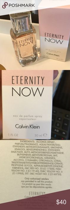 "Calvin Klein ""eternity NOW"" spray 1 oz BNWT Only took cellophane off to take out of package for pics . Never used, to save the integrity of the product. Still small enough for TSA in case you want to travel with. CK makes the best products to clothing & perfume. The bottle is pretty enough to display. CK is very detailed oriented & probably the reason it's one of my favorite brands for everything they make. BNWT. Gift for your loved ones or yourself, because you deserve the best too.  Who…"