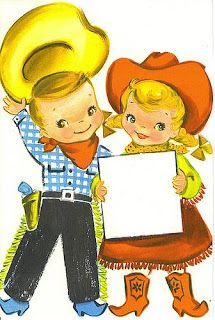 Here are a heap o' cowboy/cowgirl images for you to print and use on your cowboy tag. Some are repe. Vintage Birthday Cards, Kids Birthday Cards, Vintage Greeting Cards, Vintage Valentines, Birthday Greeting Cards, Vintage Postcards, Vintage Images, Bday Cards, Valentine Ideas