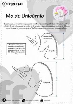 Risultati immagini per molde unicornio em feltro Sewing Toys, Baby Sewing, Sewing Crafts, Sewing Projects, Felt Crafts, Fabric Crafts, Diy And Crafts, Felt Patterns, Stuffed Toys Patterns