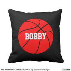 Red #Basketball Custom Throw Pillow #red #redbasketball
