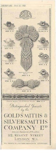 1928 diamond jewelry advert