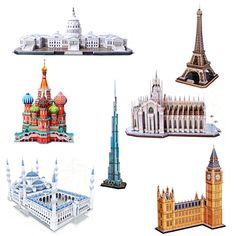 59.78$  Watch here - http://alimrs.worldwells.pw/go.php?t=32687678514 - 3D Model Puzzle Famous Architecture DIY Construction Model  Children Kids Gift  learning education toys
