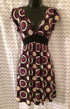 Charlotte Russe Dress. Size Medium. Purple, Tan, Black Circle Designs. VEUC. A1  | eBay