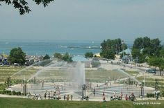 Park: Silver Beach and Compass Fountain from bluff in St. Joseph, Mi