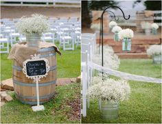 Barrels as tables, awesome chalkboard on a stand, galvanized bins with baby's breath, and shepherd's hooks + mason jars!
