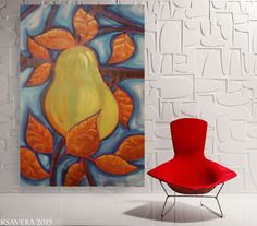 """pear painting dining room art pear art contemporary artwork on unstretched canvas 64"""" by Ksavera large wall art  by KsaveraART #TrendingEtsy"""