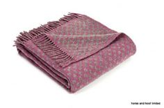 Tweedmill Prestige Lambswool Reversible Spot Throw - Mulberry