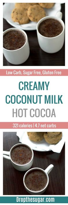 A thick and creamy coconut milk hot chocolate recipe made in a crockpot that is sugar free, low carb and full of extreme chocolate flavor! Low Carb Sweets, Low Carb Desserts, Low Carb Recipes, Diabetic Recipes, Stevia Recipes, Diabetic Desserts, Healthy Recipes, Creamy Hot Chocolate Recipe, Sugar Free Hot Chocolate