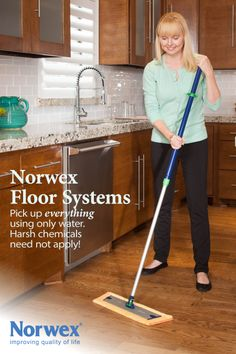 Advantages of the Norwex Mop System: * No pails * Use water and a spray bottle * Mop lifts and traps dirt  debris * Floor dries very quickly * Tall, telescopic adjustable handle - no bending! * No toxic chemicals * Saves time www.norwex.biz