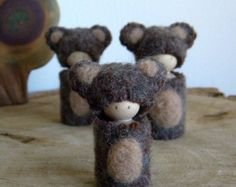 Waldorf Bear Family, Peg Dolls, Mama Bear, Papa Bear, Little Bear, Boy or Girl toy, brown, tan, wool, wood, eco toy