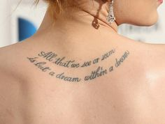 Back Tattoos Pictures For Girls | Cool Quote Upper Back Tattoo Design for Women | Cool Tattoo