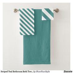 Shop Striped Teal Bathroom Bath Towel Set created by ShowYourStyle. Bathroom Bath, Bathroom Towels, Spa Towels, Bath Towel Sets, Luxury Bath, Print Design, Teal, Europe, Textiles