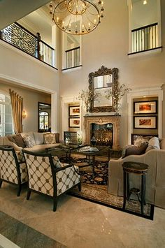 Beautiful living room / family room / den interior design ideas and home decor ~ Residential - Projects - P Interiors love the seating House Design, Home, Family Living Rooms, House Styles, House Interior, Home Interior Design, Interior Design, Beautiful Living Rooms, Furniture Layout