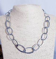 de637ac6c SILPADA 925 Sterling Silver Modernist Hammered Oval Link Long Necklace  Vintage 19