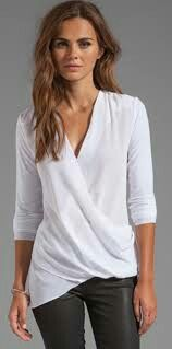 BAILEY 44 Road Not Taken Wrap Top Love a good update to the classic white blouse Fashion Mode, Fashion Outfits, Casual Outfits, Cute Outfits, Wrap Shirt, Wrap Blouse, Mein Style, Bailey 44, Business Outfit